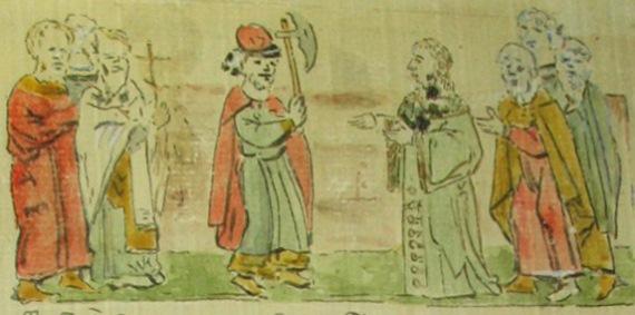 Князь Глеб расправляется с незваным волхвом